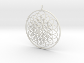 Flower Of Life Pendant - w Loopet - 6cm in White Strong & Flexible