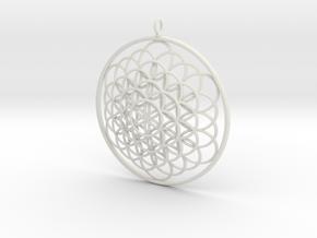 Flower Of Life Pendant - w Loopet - 6cm in White Strong & Flexible
