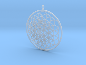 Flower Of Life Pendant - w Loopet - 6cm in Smooth Fine Detail Plastic