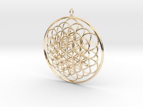 Flower Of Life Pendant - w Loopet - 6cm in 14K Yellow Gold
