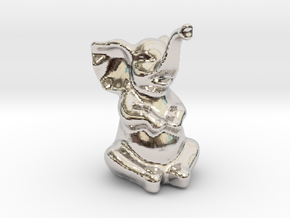 Happy Elephant in Rhodium Plated Brass