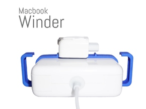 Macbook Winder 85 (Cord Wrap for 85W Adapters) in Blue Strong & Flexible Polished