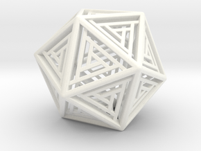 Icosahedron Lattice in White Processed Versatile Plastic