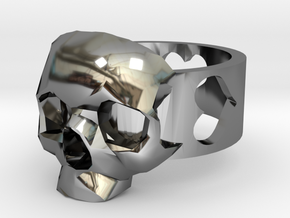 """Ring """"Heart with Skull"""" in Fine Detail Polished Silver"""
