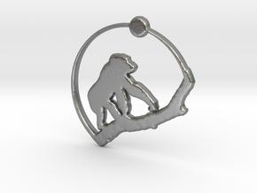 Gorilla Pendant in Natural Silver
