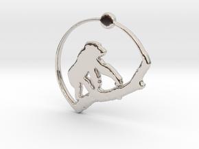 Gorilla Pendant in Rhodium Plated Brass