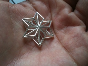 Origami STAR Structure, pendant in Polished Silver