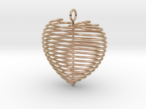 Coiled Heart with Bail in 14k Rose Gold: Large