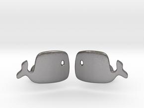 Whale Cufflinks in Polished Nickel Steel