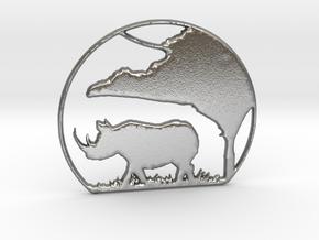 Rhino Pendant in Natural Silver