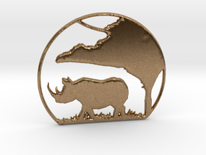 Rhino Pendant in Natural Brass