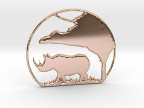 Rhino Pendant in 14k Rose Gold Plated Brass