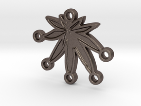 keychain 5 leafdown in Polished Bronzed Silver Steel