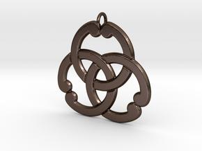 Matsuya: 3Interlocked Rings Pendant in Polished Bronze Steel