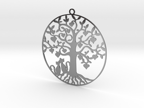 Cats Under A Tree  in Fine Detail Polished Silver