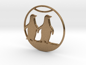 The Penguins Couple Necklace in Natural Brass