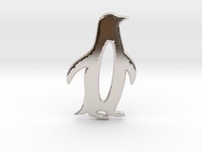 Minimalist Penguin Pendant in Platinum: Large