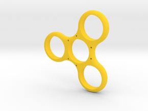 Simple Triple Sided Fidget Spinner in Yellow Processed Versatile Plastic