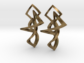 Twisted squares earrings in Interlocking Raw Bronze