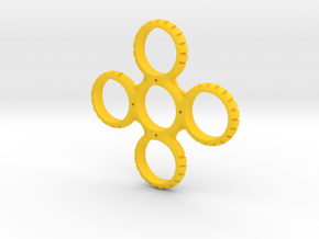 Four Sided Notched Fidget Spinner in Yellow Processed Versatile Plastic