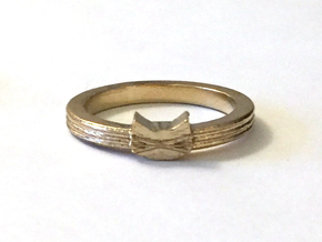 Tiny Cat Face Ring in Raw Brass: 7 / 54