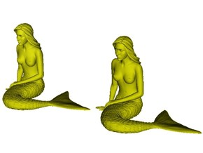 1/24 scale mermaid laying on beach figures x 2 in Smooth Fine Detail Plastic