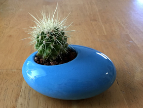Oval Succulent Planter in Gloss Blue Porcelain