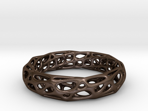Mobius Band Voronoi Bracelet 65mm (002) in Polished Bronze Steel