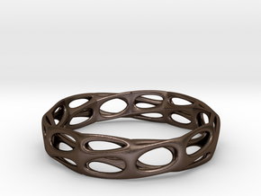 Mobius Band Voronoi Bracelet (001) in Polished Bronze Steel