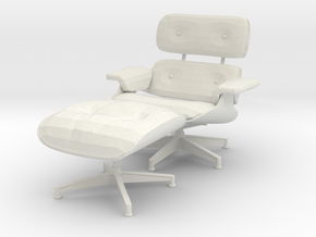 Miniature Eames Lounge Chair - Charles Eames in White Natural Versatile Plastic: 1:12