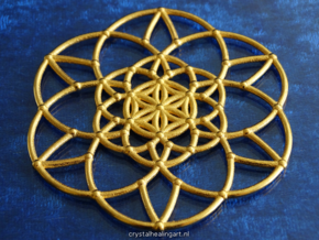 Fractal Flower of life  in Polished Gold Steel