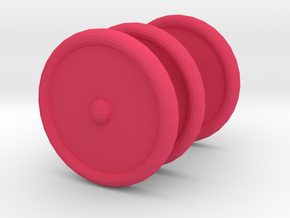 3 Scooter Wheels (2 Back 1 Front) in Pink Processed Versatile Plastic