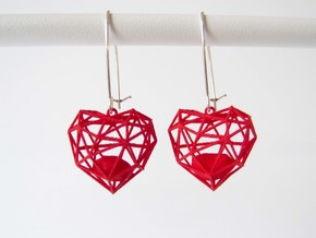 Wireframe Heart Earring in Red Strong & Flexible Polished