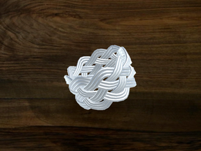 Turk's Head Knot Ring 5 Part X 9 Bight - Size 7 in White Natural Versatile Plastic