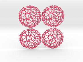 4er Drink Coaster Set - Voronoi #9 (Color-Version) in Pink Strong & Flexible Polished