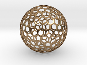 honeycomb sphere - 60 mm in Natural Brass