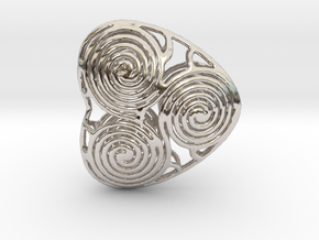 live, love and laugh celtic heart in Rhodium Plated Brass