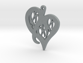 Heart Pendant in Silver or Gold  in Rhodium Plated Brass