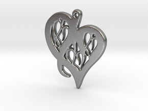 Heart Pendant in Silver or Gold  in Natural Silver