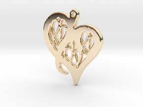 Heart Pendant in Silver or Gold  in 14K Yellow Gold