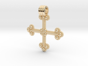 Twisted Wire Cross Pendant in 14k Gold Plated Brass