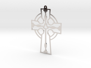 Cross Frame Style with Fish and Shell in Rhodium Plated Brass