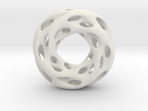 0610 IsoSurface F(x,y,z)=0 Diamond Tori [4] d=5cm in White Natural Versatile Plastic