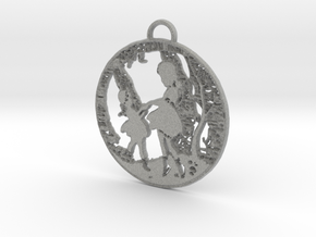 Pendant - SIlver - Girls Playing in the Garden in Metallic Plastic