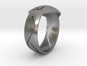 Ring S in Natural Silver