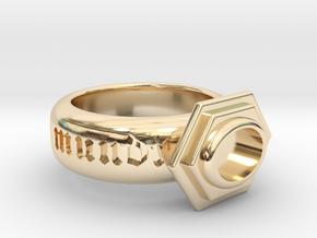 "Ring ""Sic Transit Gloria Mundi"" in 14k Gold Plated Brass: 8 / 56.75"