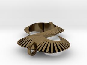Modern Heart Earrings in Polished Bronze