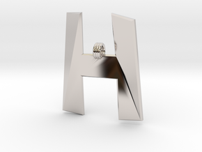 Distorted letter H in Rhodium Plated Brass