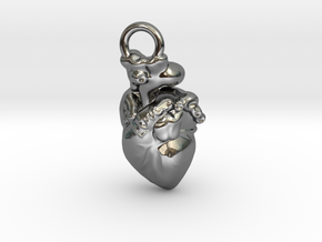 PENDENT Heart in Fine Detail Polished Silver