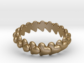 Hearts Bracelet 65 in Polished Gold Steel